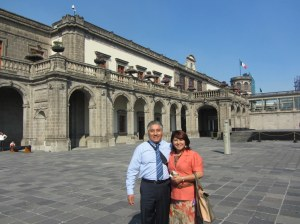 Friends in front of Chapultepec