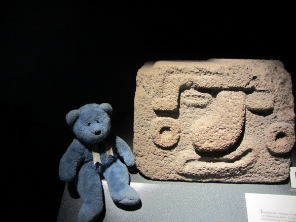 Blue Bear and statue