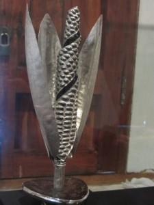 Silver corn statue, Mexico
