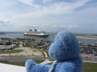 Cruise ship from roof of Exploration Tower, Cape Canaveral, Florida