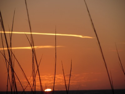 sunrise with contrails, Cocoa Beach, Florida