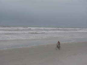 Bicyclist on New Smyrna Beach, Florida