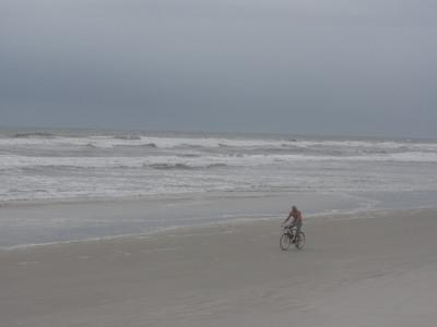 Bicyclist on New Smyrna Beach, Florida