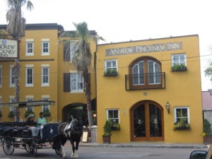 Niche hotel and horse drawn carriage, Charleston, South Carolina