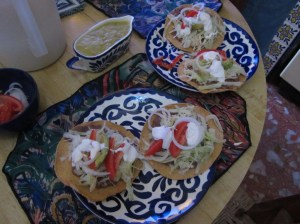 Tostadas with crema, Taxco, Mexico