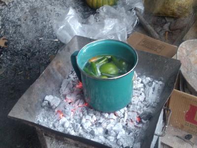 Cooking pepers for salsa, Cooking tortillas, Outdoor Kitchen (cocina), Teloloapan, Mexico