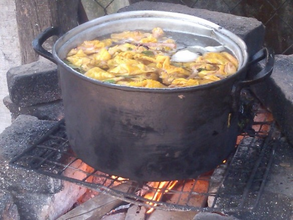 Chicken simmering over a wood fire, Ocotito, Mexico