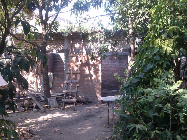 Courtyard and new house under construction, Family compound, Ocotito, Mexico