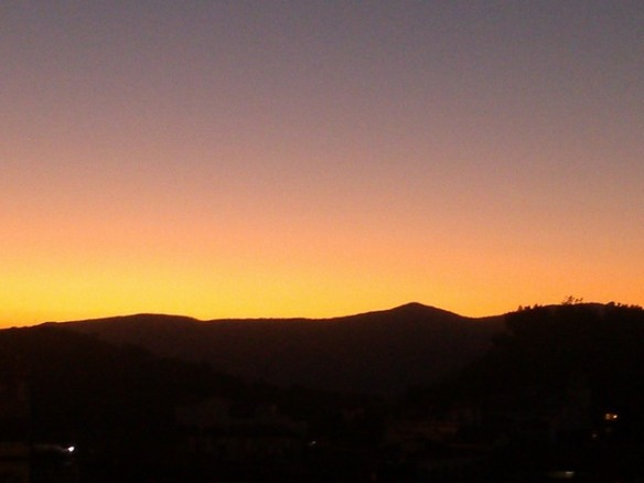 Sunrise, cloudless sky, Taxco de Alarcon, Mexico