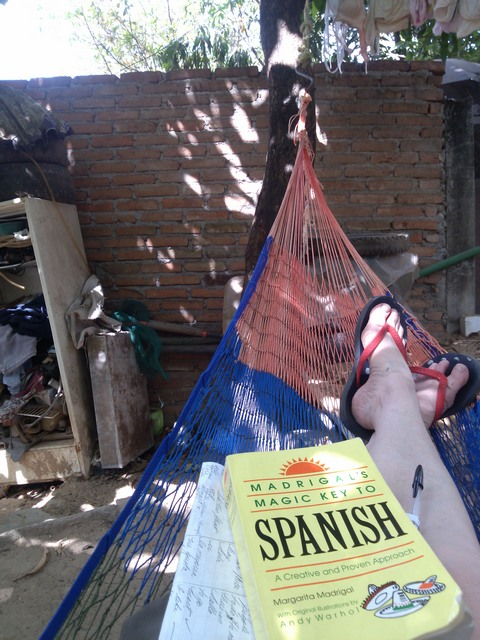 Studying Spanish in a hammock Ocotito, Mexico