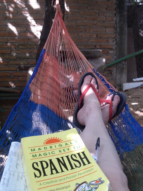 Studying Spanish in a hammock