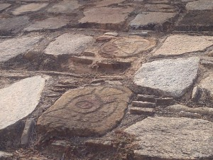Ancient glyph, Tehuacalco archeological site, Mexico