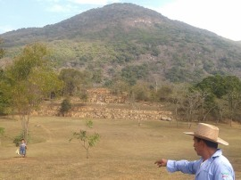 Ruins of the government mount, under one of the four points (directional mountians), Tehuacalco archeological site, Mexico