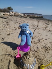 Blue Bear's sand castle, the beach, Portland, Maine