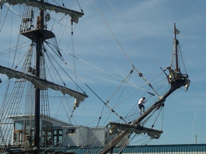 Man in rigging, Tall Ships festival, Portland, Maine