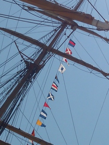 Masts and sails, USS barque Eagle, Tall Ships festival, Portland,Maine