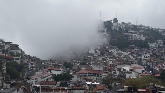 Fog engulfing Taxco de Alarcon, Mexico